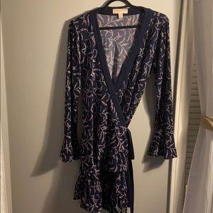 Michael Kors Navy Floral Wrap Dress - Size Medium